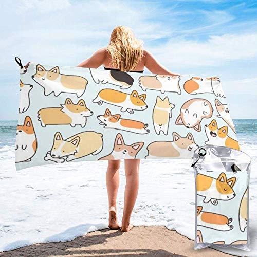 CHUNXU Toalla de playa de secado rápido, patrón Corgi,...
