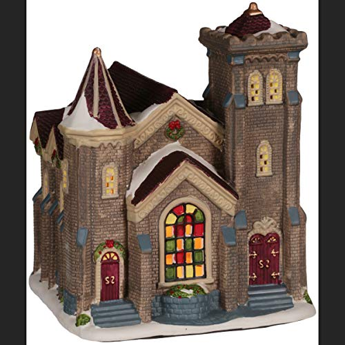 11.25 Victorian Church Christmas Village , Holiday Time by Holiday Time