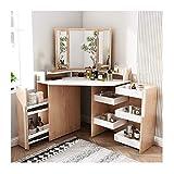 La vanidad de maquillaje escritorio de la esquina Tocador con espejo de cortesía Juego de mesa con heces 7 cajón for maquillaje dormitorio Sistema de la joyería Tocador de dormitorio ( Color : Wood )