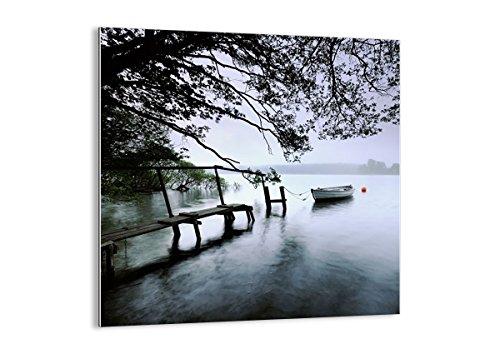 Cuadro sobre vidrio - Impresiones sobre Vidrio - Lago muelle barco árboles - 70x70cm - Decoracion de Pared - Impresión en Vidrio - Cuadro en vidrio - Cuadro de Cristal - GAC70x70-2218