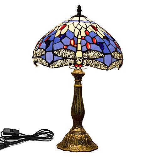 Tiffany Lampe Mediterrane kreative blaue Libelle Kunst Dekoration Tischlampe Tiffany Glasmalerei Nachttischlampe