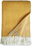 Plaids & Co Brita - Manta (140 x 220 cm, lana virgen 100 % pura con tejido trenzado), color crema