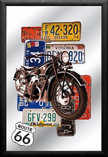 empireposter - Route 66 - Bike - Afmetingen (cm), ca. 20x30 - Bedrukte spiegel, NIEUW - beschrijving: - Bedrukte wandspiegel met zwart kunststof frame in houtlook -