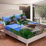 Juego de sábanas de hoja de palma tropical para niños, niñas, dibujos animados, ramas de árbol de perezoso, juego de ropa de cama hawaiano, verano, playa, colección de 2 piezas, tamaño individual