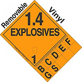 GC Labels-P14TAB, Explosive Class 1.4 Tabbed Removable Vinyl DOT Placard, Package of 50 Placards