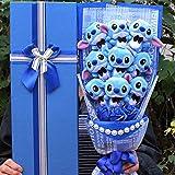 Boufery Ramo de Flores Azules Artificiales, Stich Mini Puntada Ramo de Peluche, Ramo de jabón de Seda Decoración de la Boda del día de San Valentín