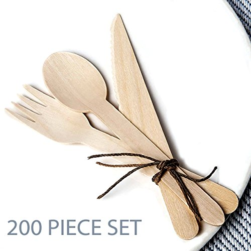 Wooden Disposable Cutlery Party Utensils - Biodegradeable and Environmentally Friendly Alternative to Plastic Knives, Forks, and Spoons - Single Use Utensils for Weddings, Parties, Picnics, BBQs