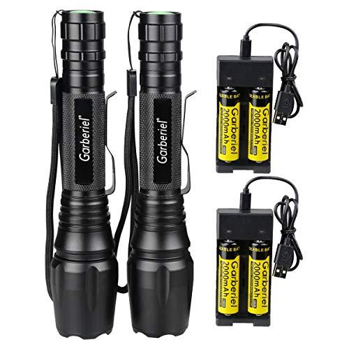 LED Taschenlampe 2 Stück, 2000 Lumen Super Hell Wiederaufladbar Wasserdichte Taschenlampe Zoombar 5 Licht Modi mit 2x Ladegerät und 4x 18650 Akku