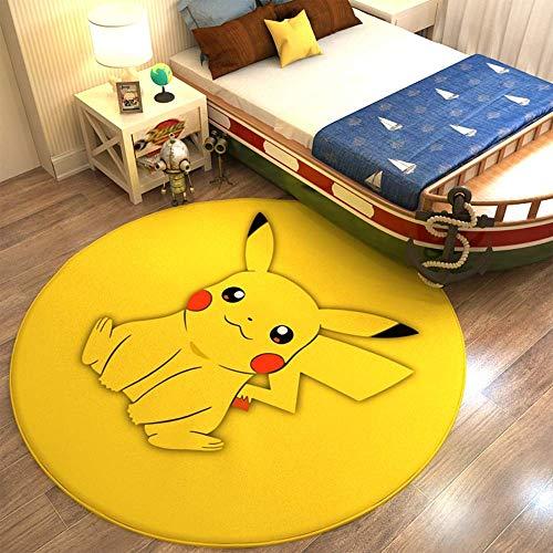 WSSW Pokémon Anime Tapis Pokemon Pikachu Panier Suspendu Chaise D'ordinateur Tapis De Sol Tapis Rond,B-80cm