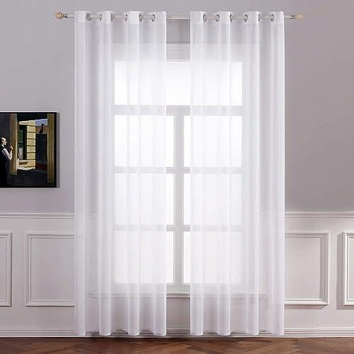 MIULEE 2 Hojas de Cortinas Visillos Poliéster Translucida de Dormitorio Moderno 8 Ojales Moderna Decorativa para Vent...