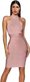 Women's Halter Neck Backless Cross Strap Bodycon Bandage Mini Party Dress