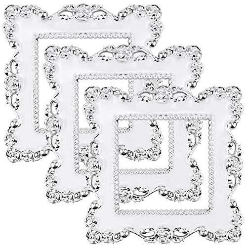Hysagtek 3 Stücke Luxuriöse Blume Lichtschalter Aufkleber Steckdose Surround Aufkleber Abdeckung Dekoration Aufkleber (Weiß)