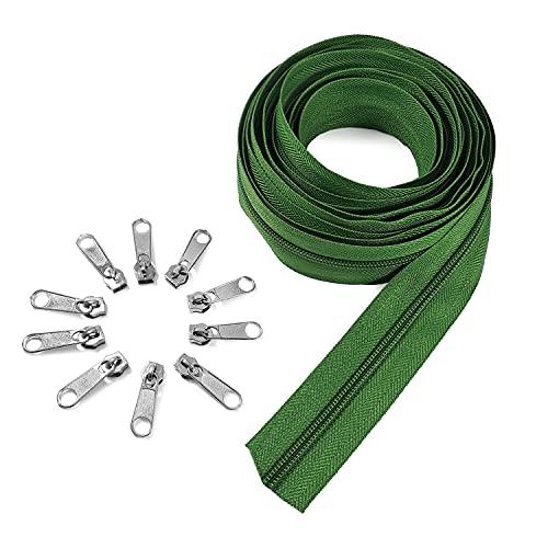 Cremallera continua por metros de nylon #5 color verde musgo, 5 metros + 15 cursores de niquel, 30 mm de ancho, costuras, manualidades, cojines, tapicería