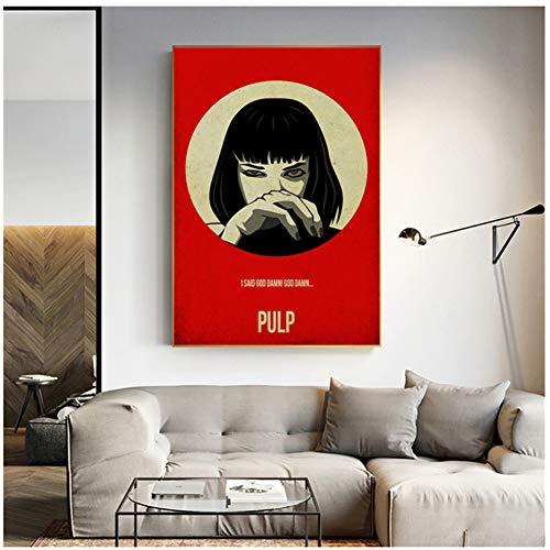 ad Película clásica Pulp Fiction Minimalista Wall Art Canvas Poster Print Canvas Painting Oil Decorative Picture Bedroom Home Decor -50x70cm Sin Marco