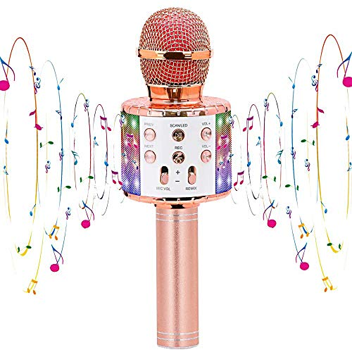 Karaoke Microphone, Bluetooth Wireless Microphone, LED Light, Music Playback, Recordable, Home Karaoke, Portable Speaker, Noise Canceling, Accompany Function, 2,400 mAh, TF Card Function, Compatible with Android/iPhone (Pink)