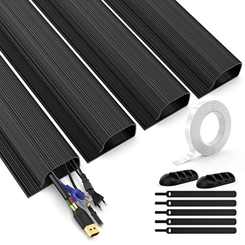 Juego de troncos cable canal J, MUDEELA para debajo del escritorio, bandeja gestión cables la organizador 1,6 metros oficina y hogar, 4 x 40 2,8 6 cm, color negro