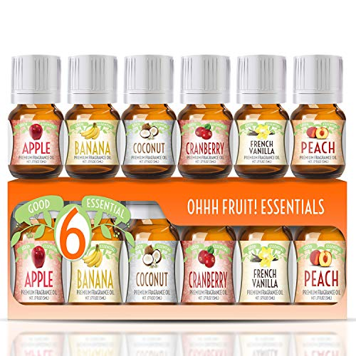Fragrance Oils Set of 6 Scented Oils from Good Essential - Banana Oil, Cranberry Oil, Apple Oil, Coconut Oil, French Vanilla Oil, Peach Oil: Aromatherapy, Perfume, Soaps, Candles, Slime, Lotions! Coconut Perfume Body Oil