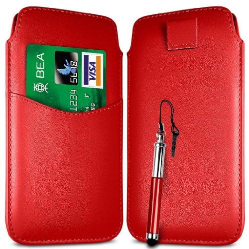 N4U Online Rot Card Slot Premium-PU-Leder Flip Pull Tab Hülle Tasche & versenkbaren Stift für Huawei Ascend Y210D