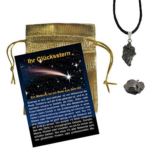 """Meteorit 5 teiliges Set: Eisen-Meteorit-Anhänger""""L"""" mit 925 Silber-Öse + ECHTE Sternschnuppe mit Booklet IHR GLÜCKSSTERN, Täschchen, Seidenband, Echtheits-Zertifikat. 60030"""