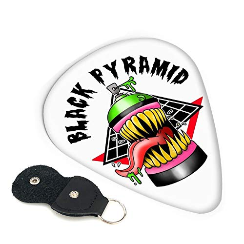 Chris Brown-Black Pyra-Mid Shield Shield Guitar Picks-for Electric Guitar Acoustic 6-String/4-String Guitar Guitar Pick Signature Guitar Unique Pick Tins, 6 Picks Chip 0.96mm