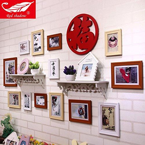HJKY Photo Frame Wall Set Champ Fu table-étagère Photo Combo mur dans le salon salle à manger Chambre à coucher des murs à ossature de bois simple et petit mur Mur de photos blanc Hu