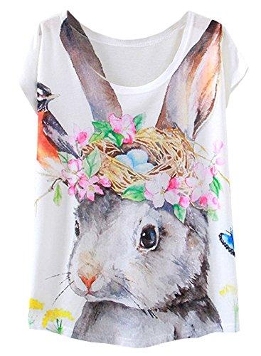 FUTURINO Damen Garland Flamingo Print Rundhalsausschnitt Kurzarm T-Shirt Top Tees
