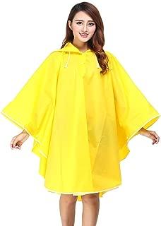EVA Material Fashion Non Disposable Raincoat Cloak Outdoor Travel Portable Transparent Rainwear Women Men's Hooded Transparent,Yellow