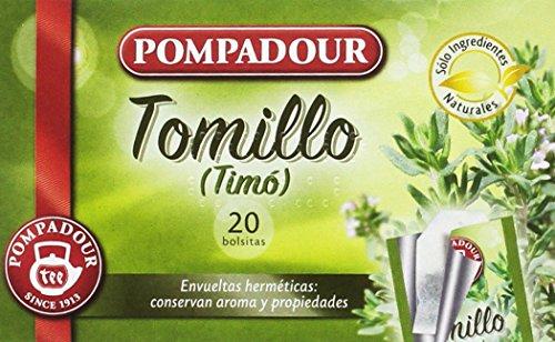 Pompadour - Té Infusion Tomillo, Pack de 5 x 20 bolsitas - Total: 150 g