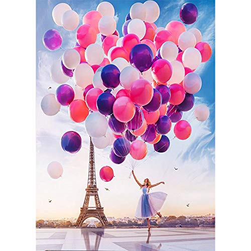 DIY 5D Diamond Painting Kits for Adults & Kids, Beginners, Valentine's Day Gifts, Colorful Balloon Full Drill Round Diamond Crystal Gem Arts Painting Perfect for Home, Eiffel Tower(12x16Inch)