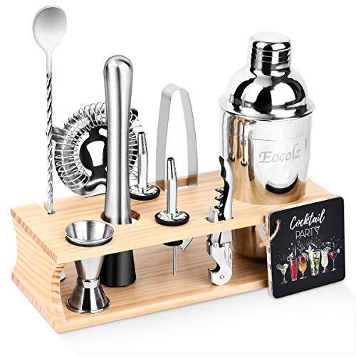 Eocolz Cocktail Shaker Bar Set Bartender Kit with Stand Accessories: Martini Shaker, Jigger, Strainer, Mixer Spoon, Tongs, Pourer, Muddler, Bottle Opener | Professional Bar and Home Drink Making Tools