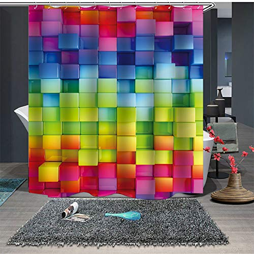 Chickwin Duschvorhang Anti-Schimmel und Wasserdicht, 3D Kreative Mode Amüsant Drucken Duschvorhang mit 12 Duschvorhangringe für Badezimmer (150x180cm,Bunte Quadrate)