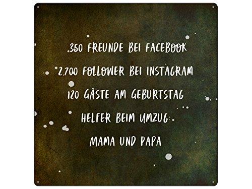 Interluxe 20x20cm METALLSCHILD Türschild 350 Freunde BEI Facebook Umzug Einzug Lustig