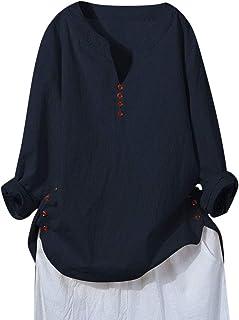 Xmiral Top Camicia Donna Maniche Lunghe Cotone Caftano di Lino Maniche Lunghe