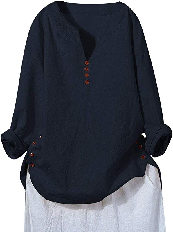 Women S Casual Long Sleeve Button V Neck Loose Tunic T Shirt Blouse Tops M 5XL Gogoodgo