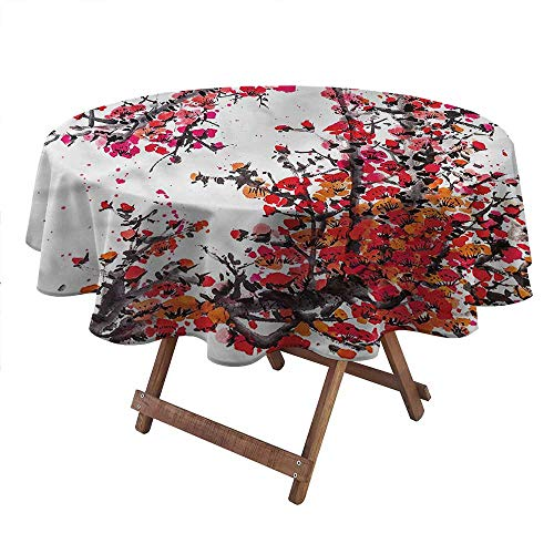 ThinkingPower Japanese, Round Tablecloths Watercolor Cherry Blossoms Round Premium Tablecloth for Kitchen Dinner Table, (Diameter 66 Inch)