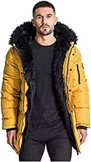 Gianni Kavanagh Men's Gold Wolf Coat with Black Fur