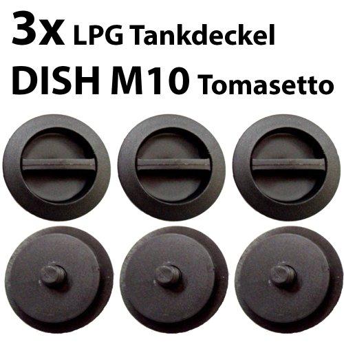 3x Dish M10 Verschlusskappe für DISH Außengewinde M10 TOMASETTO Standard Autogas LPG 3er Set Tankverschluss 3x Dish M10 Tankdeckel