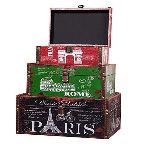 LiChaoWen Maleta decorativa vintage exhibición de la maleta de fotografía retro caja de almacenamiento de la maleta (color tamaño: 3 piezas)