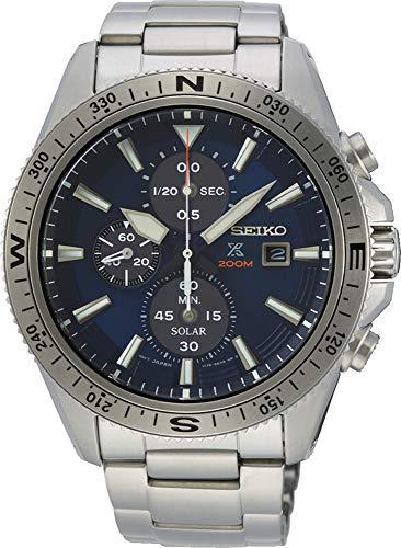 SEIKO Herren Chronograph Solar Uhr mit Edelstahl Armband SSC703P1