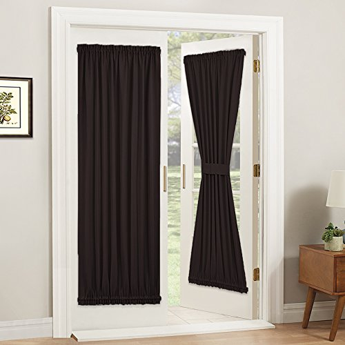 PONY DANCE Blackout Door Panel - French Curtain Elegant Home Decorative Rod Pocket Window Treatment for Sliding Door with Adjustable Tieback, 54 x 72 inches, Brown, 1 Panel