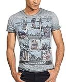 trueprodigy Casual Marca Camiseta para Hombre con impresión Estampada Ropa Retro Vintage Rock Vestir Moda Cuello Redondo Manga Corta Slim fit Designer Fashion t-Shirt, Colores:Anthracite, Tamaño:M