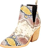 Cambridge Select Women's Western Pointed Toe Side V Cutout Chunky Stacked Block Heel Ankle Bootie,7 B(M) US,Multi Snake PU