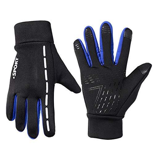 Guantes de ciclismo unisex deportes guantes de ciclismo antideslizantes de invierno ciclismo guantes de pantalla táctil a prueba de viento 3 tipos de guantes de bicicleta de montaña-azul reflectante,L