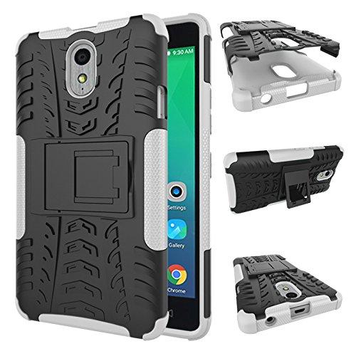 TiHen Handyhülle für Lenovo Vibe P1M Hülle, 360 Grad Ganzkörper Schutzhülle + Panzerglas Schutzfolie 2 Stück Stoßfest zhülle Handys Tasche Bumper Hülle Cover Skin mit Ständer -Weiß