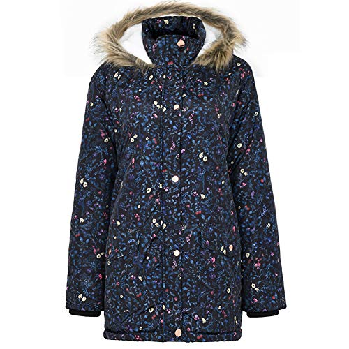 SUNDAY ROSE Women's Winter Coats Warm Sherpa Lined Puffer Jacket with Fur Hood-Navy Blue Floral Pattern,X-Large