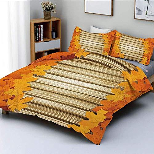 Juego de funda nórdica, hojas caídas en la pared de madera Follaje de septiembre Impresión de estilo rústico Juego de cama decorativo de 3 piezas con 2 fundas de almohada, café pálido de caléndula nar