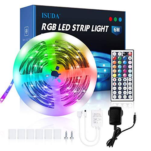 ISUDA Striscia LED 6M, LED Striscia Musica RGB 5050, Controllo Remoto di 44 Tasti 20 Colori 8 Modalità, Luci LED per Camera Da Letto Decorazione della Cucina Bar Feste [Classe Energetica A ++]