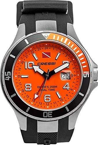 Cressi 1946 Traveller Dual Time-Diving Watch Taucheruhr, Schwarz/Orange, Uni