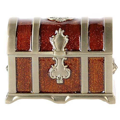 Caja de almacenamiento de 4,2 * 2,8 * 3 pulgadas, organizador de caja de joyería de aleación de zinc impermeable decorativo retro, para guardar pendientes, collar,(Epoxy brown)