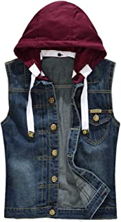 PASOK Men's Hoodie Denim Vest Casual Slim Fit Button Down Sleeveless Jeans Vests Jacket,$2.00 coupon applied.,with coupon (some sizes/colors)